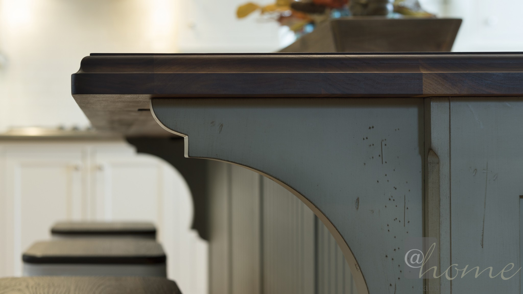 antiqued look detail on this kitchen island
