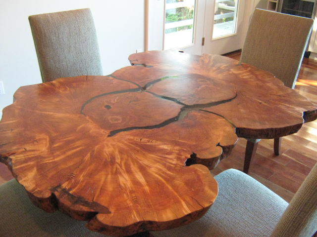 custom natural wood dining room table